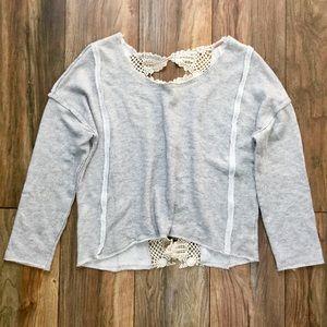 FP Sheer Crochet Peekaboo Back Sweatshirt Top Sz M